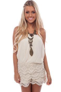 6e5a81ee741b Lime Lush Boutique - Cream Crochet Lace Bottom Romper