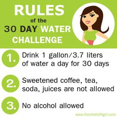 30 day water challenge rules *** see more tips on www.fromfattofitgirl.com