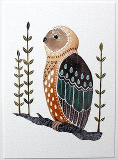 Owl Illustration Art  Watercolor Painting  Archival por RiverLuna, $20.00