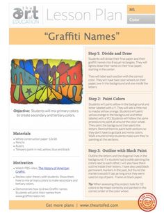 Middle School Lesson Plan: Color Wheel Graffiti Names. Free Download