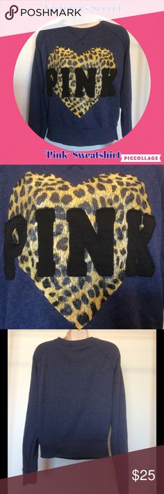 VS Pink crew sweatshirt MAKE OFFER Victoria's Secret blue crewneck sweatshirt. Excellent condition, no rips or stains or holes of any kind. Size medium, baggie. Yellow and black animal print leopard print cracked/crackling heart. Black fabric PINK. Price firm unless bundled. Check out my closet for 100's of great priced items. Victoria's Secret Tops Sweatshirts & Hoodies