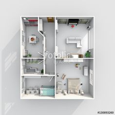 3d interior rendering plan view of furnished home apartment