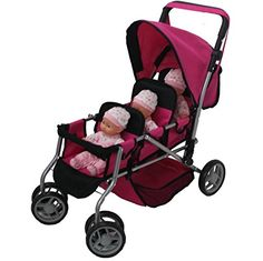 Doll Strollers - Mommy  Me TRIPLET Doll Pram Back to Back with Swiveling Wheels  Free Carriage Bag  9668A *** To view further for this item, visit the image link.