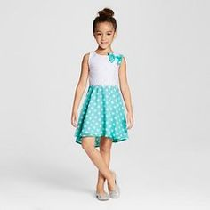 Girls' Young Hearts Polka Dot Dress - White