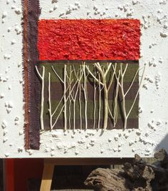Pittura moderna, astratta, contemporanea, QuadriMaterici- Titolo: Boschetto rosso- cm 40x40
