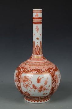 Qing Dynasty Chinese Alum Red Porcelain Vase with Kangxi mark. Height: 43cm.