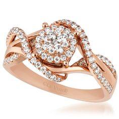 Le Vian® 0.59 Carat Vanilla™ Diamond Swirl Cluster Pave 14K Strawberry Gold® Ring. Style ZUER 2
