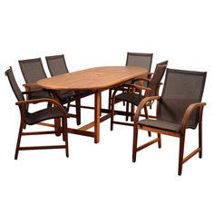 Amazonia Indiana 7 Piece Extendable Dining Set with Sling Chairs | from hayneedle.com
