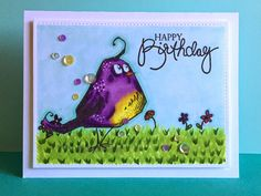 """I am enamoured with this """"Angry Bird"""" stamp set by Tim Holtz. I have been having such fun playing with them! Here are two featuring my favo..."""