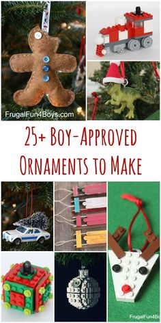 Boy Approved Christmas Ornaments for Kids to Make - Lego ornaments, Hot Wheels, Dinosaurs, Star Wars, and more.  Crafts that boys will go for (and of course girls can do these too)!