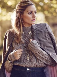Who made Olivia Palermo's gold jewelry, cable knit sweater, and plaid coat?