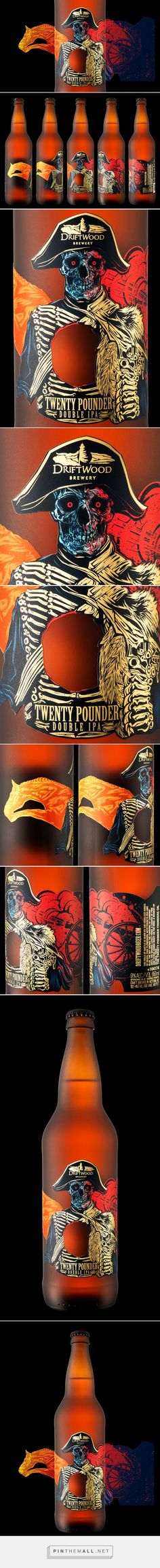 Twenty Pounder Double IPA with a hole in label - #design by Hired Guns Creative (Canada) - http://www.packagingoftheworld.com/2016/05/twenty-pounder-double-ipa.html