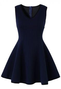 V-neck Skater Dress in Navy
