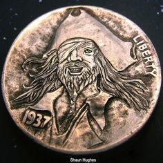 SHAUN HUGHES HOBO NICKEL - SHIVER ME TIMBERS - 1937 BUFFALO NICKEL Hobo Nickel, Coin Art, Metal Art, Buffalo, Coins, Carving, Rooms, Wood Carvings, Sculptures