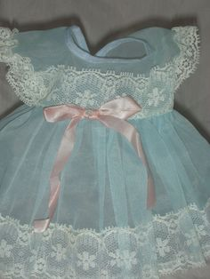 Rare Vintage Tiny Tears Doll Blue Dimity Dress for 12-13 inch doll**