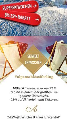 100% Skifahren, aber nur 75% zahlen!  Im März gibt's den Skiurlaub am Wilden Kaiser ab 4 Nächte um 25% ermäßigt. Und sogar beim Skiverleih und den Skikursen sparen Sie 25%.   Buchbar 14.03.-13.04.2020 ✔4 Übernachtungen ✔3 Tage SkiWelt Skipass ✔3/4 Verwöhnpension ✔WLAN ✔Willkommensgetränk ✔Sonntags Schlössldinner ✔Hallenbad ✔Sauna, Sanarium, Dampfbad, Infrarotkabinen, Ruheräume ✔Kostenloser Skibus #alpenschlösslfeeling #skiweltunterkunft #austria #tirol #skifahren Wilder Kaiser, Sauna, Packaging, Events, Brass Band Music, Wine Festival, Steam Bath, Ski Trips, Ski
