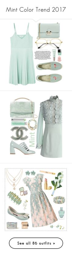 """""""Mint Color Trend 2017"""" by yours-styling-best-friend ❤ liked on Polyvore featuring MANGO, Soludos, Sulwhasoo, Butter London, Ted Baker, Miu Miu, Chicwish, Chanel, Eddie Borgo and Christian Dior"""