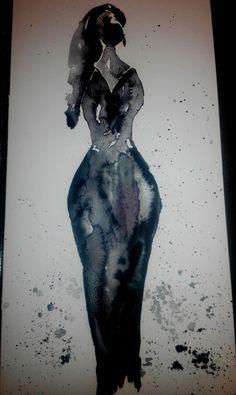 Black woman aquarelle
