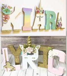 Unicorn letters Unicorn Names, Unicorn Rooms, Unicorn Bedroom, Unicorn Birthday Parties, Unicorn Party, Birthday Party Themes, Letters For Kids, Unicorn Crafts, Unicorn Baby Shower