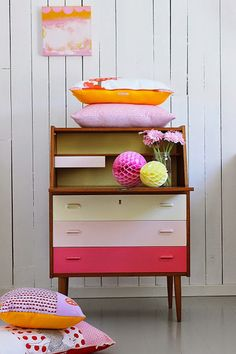 A great way to freshen up vintage furniture brought to you by Fritha from TigerLillyQuinn http://www.tigerlillyquinn.com/. Great for a sorbet colour scheme girl's bedroom #KidsDecor