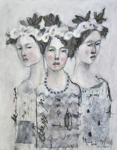 Not without my sisters ORIGINAL mixed media by Misty Mawn