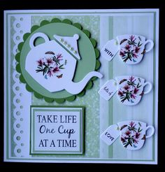 Hand made Birthday card using SU Cups & Kettles framelits