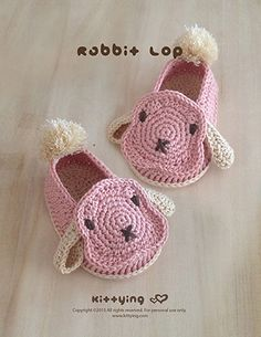 Rabbit Lop Baby Booties Crochet PATTERN Kittying Crochet Pattern by kittying.com from mulu.us  This pattern includes sizes for 0 - 12 months.