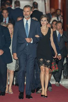 King Felipe VI of Spain and Queen Letizia of Spain attend the Royal Theatre opening season concert on September 15, 2016 in Madrid, Spain.