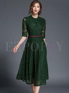 Buy Elegant Lace Belt Half Sleeve Skater Dress, Fashion Designed Elegant Lace Be. Elegant Dresses, Pretty Dresses, Beautiful Dresses, Casual Dresses, Cheap Dresses, Green Dress Casual, Lace Dresses, Women's Casual, Purple Dress