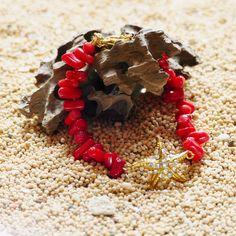 真紅の珊瑚アクセサリー この夏に大活躍するブレスレット  Red coral bracelet for this summer!