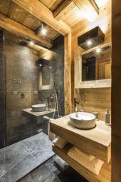 Chalet Design, Küchen Design, Bathroom Styling, Bathroom Interior Design, Chalet Interior, Cabin Bathrooms, Log Home Designs, Rustic Apartment, Bathroom Colors