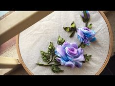 The way to embroider simple roses is purple green [ Ribbon Embroidery] – YouTub … - Embroidery and Stitching Ribbon Embroidery Tutorial, Silk Ribbon Embroidery, Rose Embroidery, Embroidery Patterns, Embroidery Supplies, Ribbon Art, Diy Ribbon, Purple Ribbon, Ribbon Flower