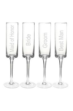 CATHY'S CONCEPTS 'Wedding Party' Contemporary Champagne Flutes (Set of 4) available at #Nordstrom