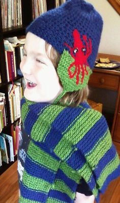 My nephew in hat and scarf I made for him. 2010
