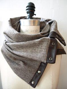 Fall 2012 Brown herringbone  Chunky wool circular infinity scarf