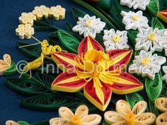 Flower basket & praying mantis wall art. Framed with glass, OOAK. Paper filigree / quilling. $180.00, via Etsy.