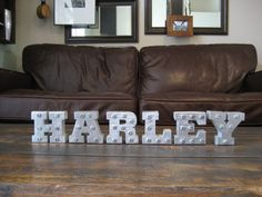 HARLEY spelled out in custom letters by VintageForwardDesign Poker Run, Spelling, Letters, Trending Outfits, Furniture, Color, Etsy, Home Decor, Decoration Home