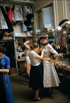 Atelier couture, sewing, Fashion atelier, Atelier Pierre Balmain , Paris 1954