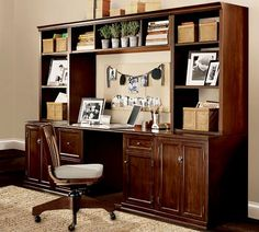 I think I could handle a office space like this.  I guess I need to get the bigger house first with the office to have this though.  Logan Office Suite   Pottery Barn