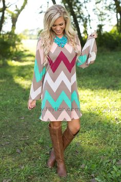 Don't miss out on this gorgeous fall chevron dress!