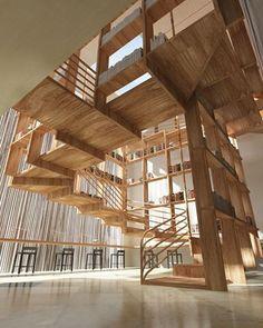 如果有一間度假飯店能夠結合閱讀與休憩,讓自然氛圍結合知識的包圍,或許會是另一種放鬆感受。 這個由美國舊金山建築師Jianxiong Liu構想的one resort 3D設計案,將圖書館的概念置入飯店,再運用相同的木結構語彙延展圖書區、休憩區與大廳,結合書櫃與立面的設計讓知識無所不在,閱讀區本身融入階梯結構,順著階梯緩緩而上,設計出令人驚豔的漂浮圖書館。 via Jianxiong Liu