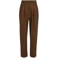 Isa Arfen Checked wool cropped trousers (7.870 CZK) ❤ liked on Polyvore featuring pants, high waisted pants, cropped trousers, highwaist pants, high rise pants and checked pants