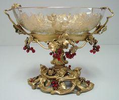 19th c. Moser bronze & crystal centerpiece