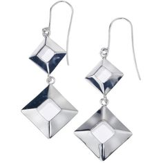 Jewelista Sterling Silver Box Drop Earrings | Bluefly.Com ($169) ❤ liked on Polyvore featuring jewelry, earrings, white, drop earrings, sterling silver fish hook charm, punk rock earrings, white jewelry and fish hook earrings
