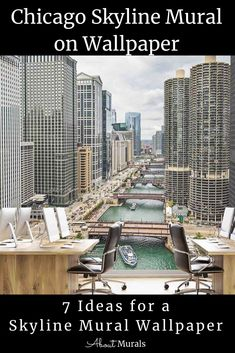 This Chicago skyline mural features skyscraper buildings overlooking the Chicago River. The cityscape wall mural is perfect for getting you motivated at the office and since it's printed on removable wallpaper, how can your boss say no? Click to see all 7 cityscape murals perfect for wallpaper diy. Cityscape Wallpaper, Diy Wallpaper, Chicago River, Chicago Skyline, Room Themes, Wall Murals, Skyscraper, Buildings, Boss