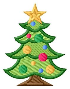Decorated Christmas Tree 2 Sizes Machine Embroidery Design | Windmill Designs