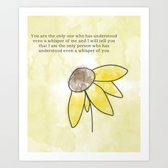 SUNFLOWER Art Print with Everything is Illuminated Quote