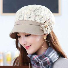 Winter lace beret hat flower decoration womens hats