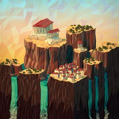 #Geometric #Landscapes by JR Schmidt, #3D, #Graphic #Design, #Illustration, #Scenery