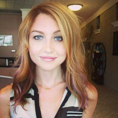 Lavender highlights on light red blonde hair
